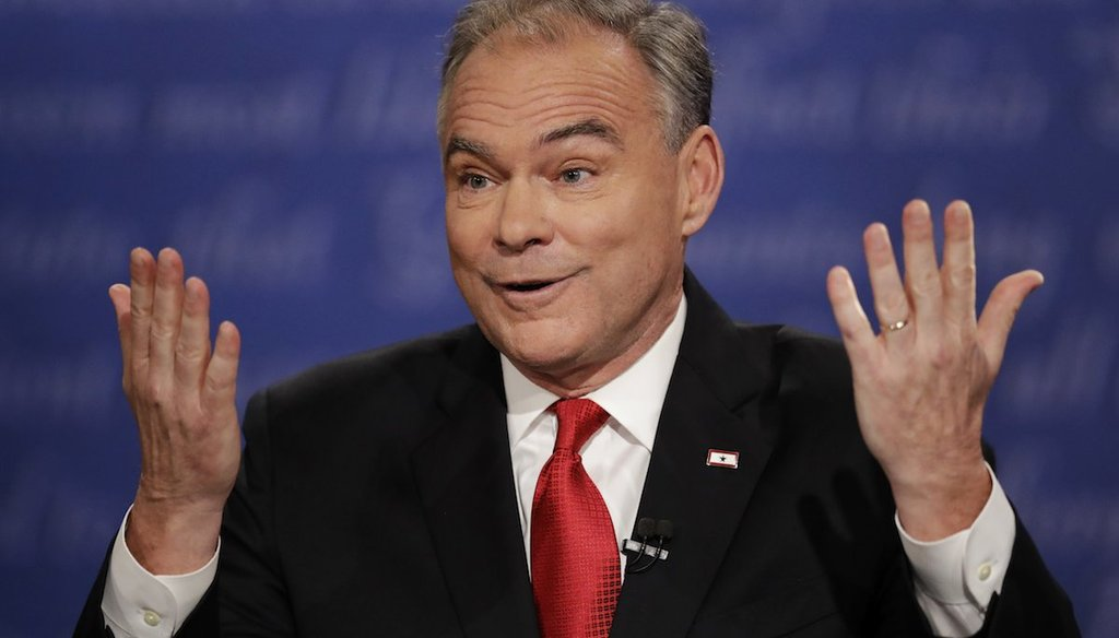 Democratic vice-presidential nominee Sen. Tim Kaine speaks during the vice-presidential debate with Republican vice-presidential nominee Gov. Mike Pence at Longwood University in Farmville, Va., Tuesday, Oct. 4, 2016. (AP Photo/Julio Cortez)