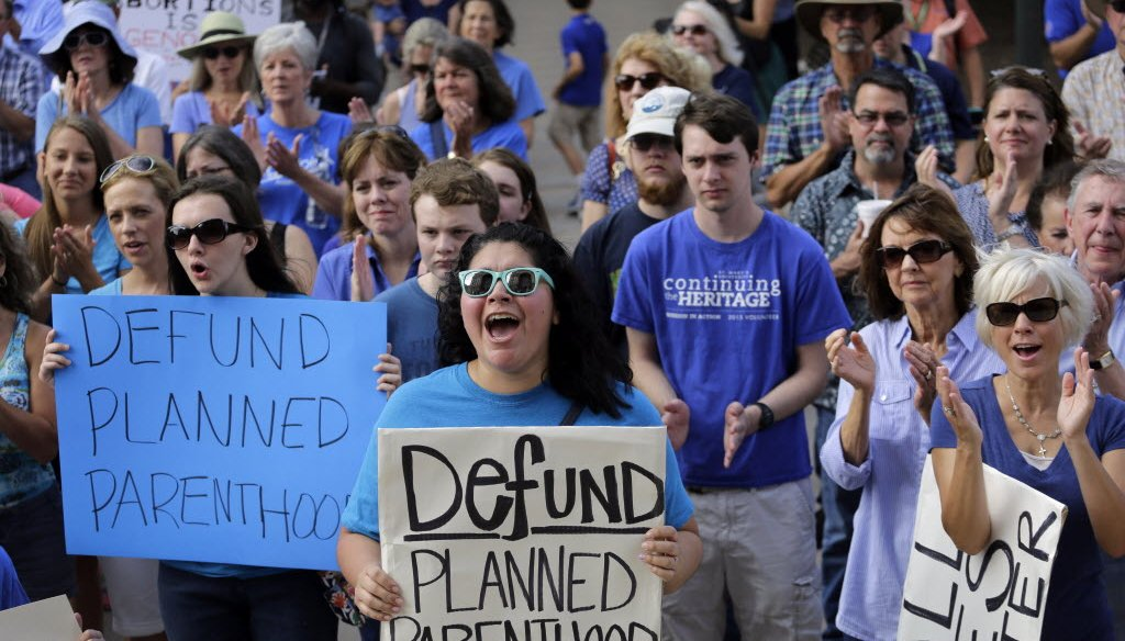 Videos showing Planned Parenthood officials discussing how they sometimes procure tissue from aborted fetuses for medical research led to calls, including at this rally in Austin, Texas in July 2015, to stop federal funding for the group. (AP photo)