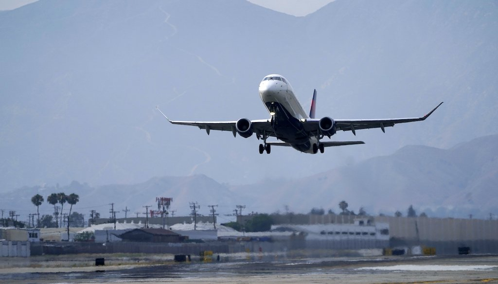 A Delta Air Lines jet takes off from Hollywood Burbank Airport Thursday, July 8, 2021, in Burbank, Calif.  (AP)