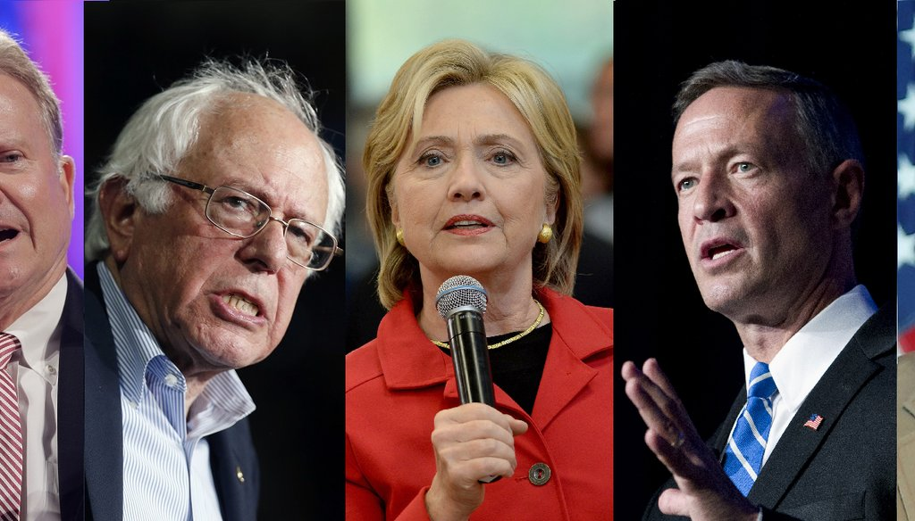 The five Democratic candidates will debate Oct. 13, 2015. (AP Photos)