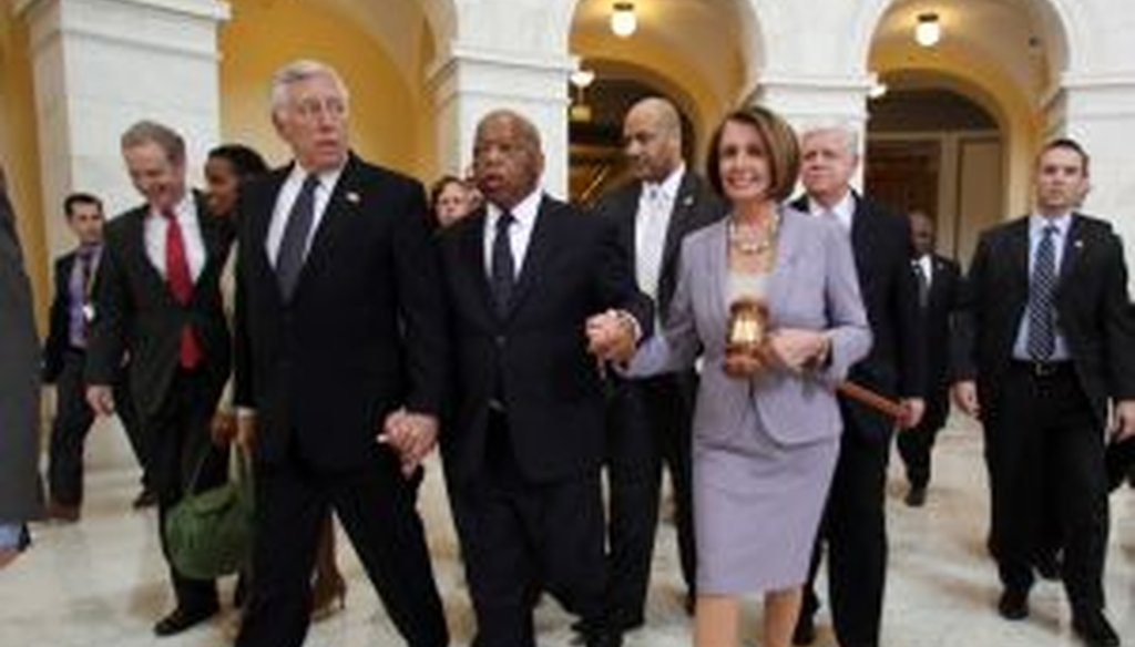 Speaker Nancy Pelosi and House Democrats on their way to winning votes on health care reform.