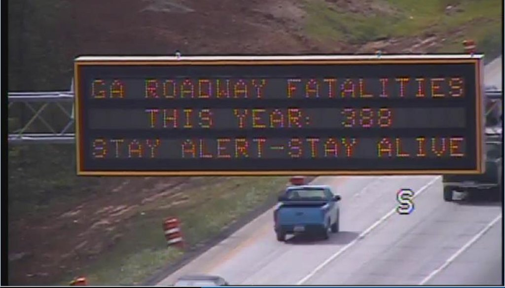 A Georgia DOT road sign over I-75 flashes the traffic fatalities as of April 23, indicating driver behavior is a factor. Photo provided by Georgia DOT