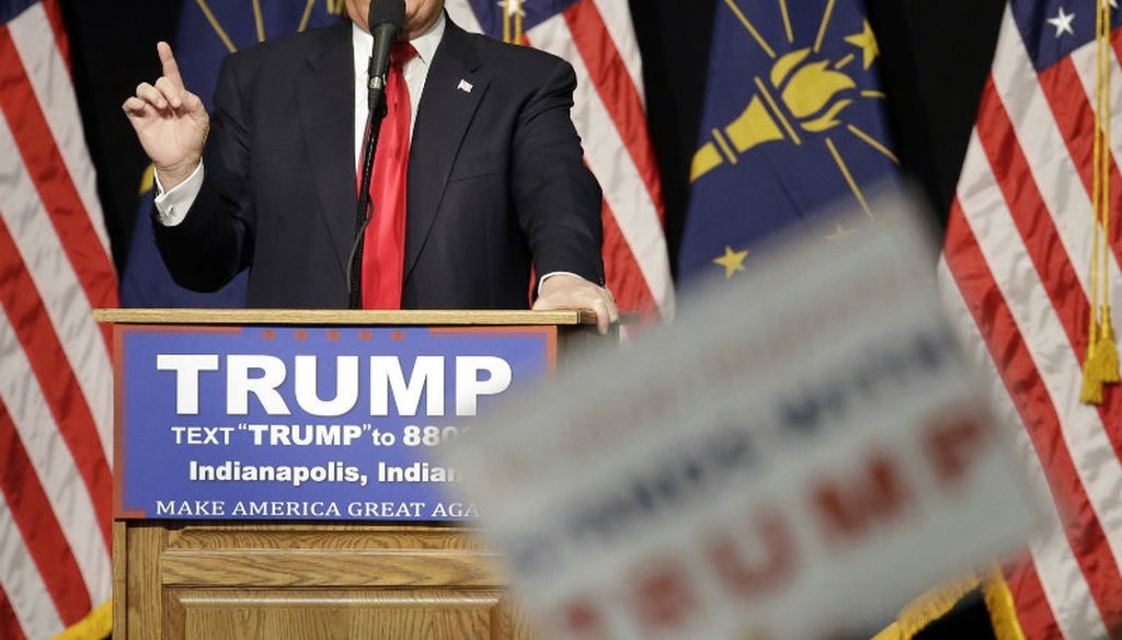 Republican presidential candidate Donald Trump speaks during a campaign stop Wednesday, April 20, 2016, in Indianapolis. (AP Photo/Darron Cummings)
