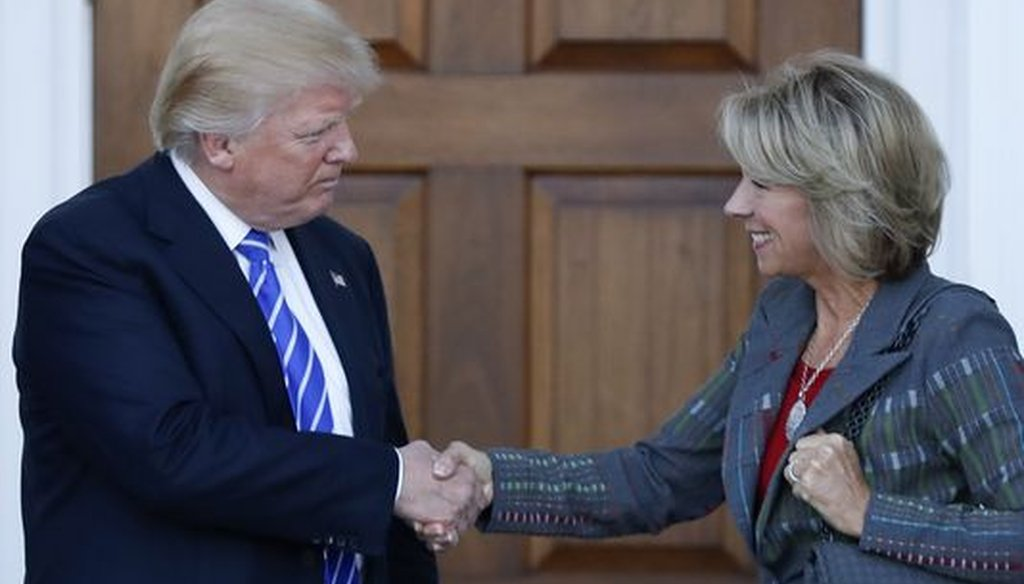 President-elect Donald Trump chose Betsy DeVos to be his education secretary. Her net worth has been reported as being as high as $5 billion, but also as low as $130 million. (Associated Press)