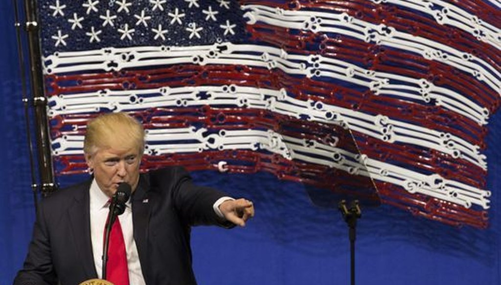 Donald Trump made his first trip to Wisconsin since becoming president when he visited Snap-On Inc., a tool manufacturer in Kenosha, on April 18, 2017. (Milwaukee Journal Sentinel/Mark Hoffman)