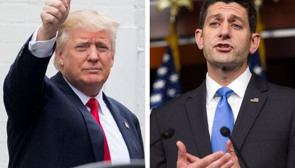 Is Republican presidential nominee Donald Trump (left), who has had his differences with GOP House Speaker Paul Ryan, still endorsed by Ryan?