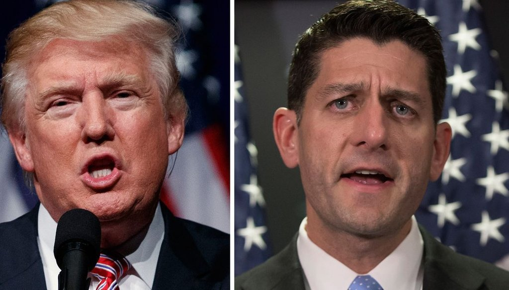 President Donald Trump (left) has expressed support for the Republican replacement plan for Obamacare being championed by House Speaker Paul Ryan.