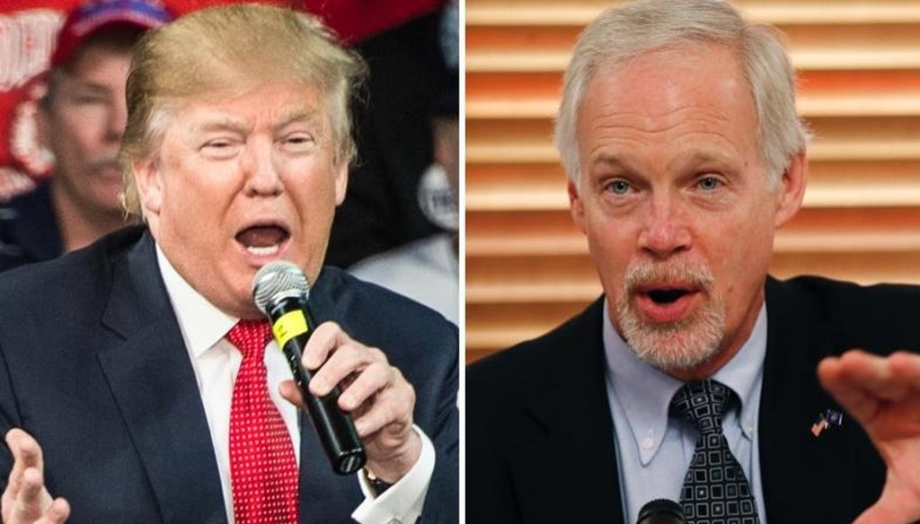 In his campaign to win back a U.S. Senate seat, Democrat Russ Feingold has tried to link Republican presidential nominee Donald Trump (left) with GOP Sen. Ron Johnson. (Getty Images/Associated Press)