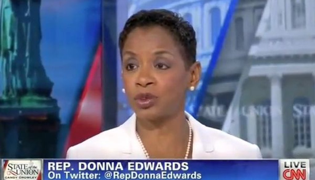 "On CNN's ""State of the Union,"" Rep. Donna Edwards, D-Md., said that ""74 percent of Republicans support the Affordable Care Act."" We checked to see if that's accurate."