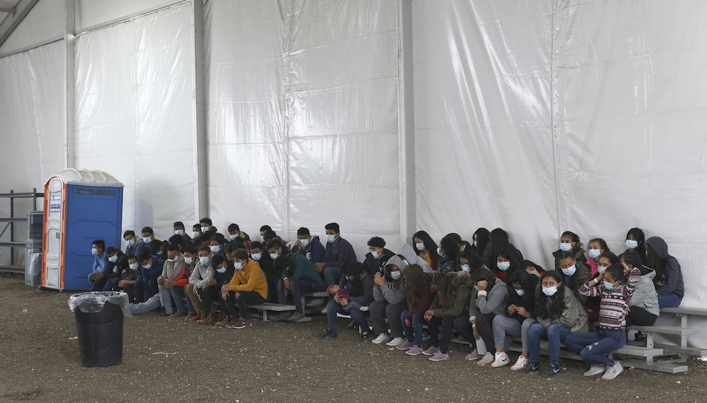 Newly arrived migrant children inside a temporary federal facility for unaccompanied minors in Donna, Texas, on March 30, 2021. (AP