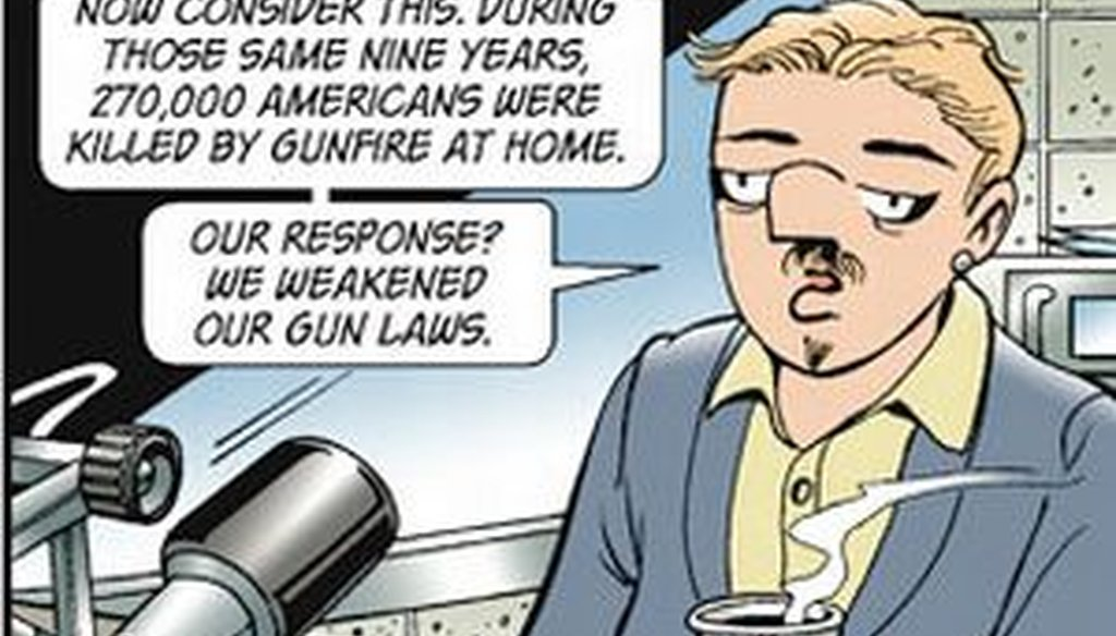 In a Sunday strip, Doonesbury character Mark Slackmeyer muses about the nation's divergent responses to deaths by terrorism and gun violence. We check his numbers.