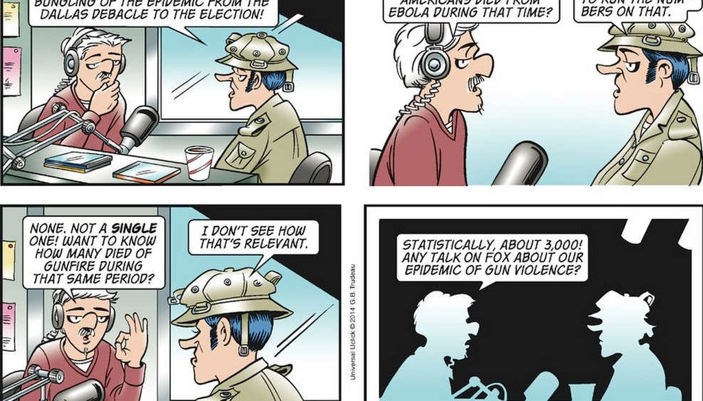 This Doonesbury comic strip took Fox News to task for politicizing fears about Ebola. (Washington Post/Trudeau)