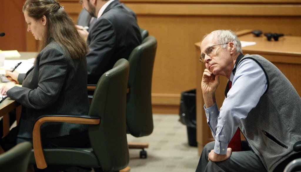 Wisconsin Secretary of State Doug La Follette listens to arguments in court in 2011 over whether his office should publish a budget-repair bill pushed by Gov. Scott Walker. (Mark Hoffman/Milwaukee Journal Sentinel)