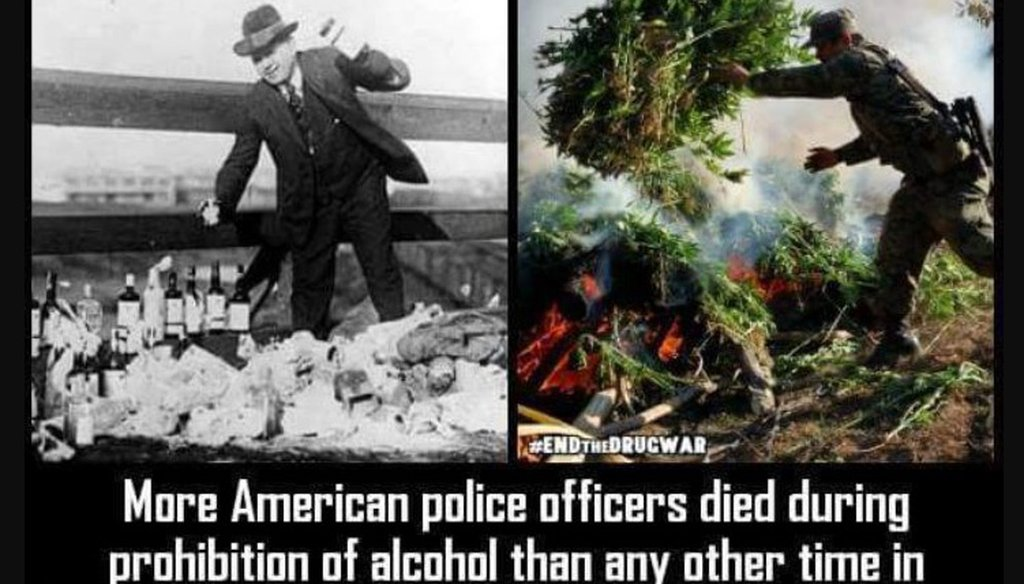 This screenshot shows the viral image comparing the number of police officer deaths during Prohibition and the war on drugs.
