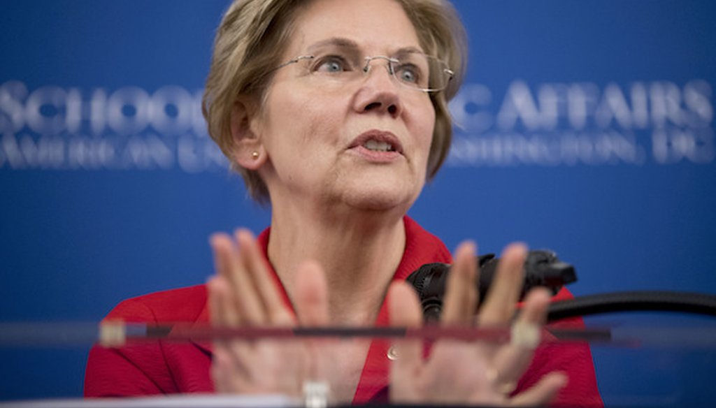 Sen. Elizabeth Warren, D-Mass., speaks at the American University Washington College of Law in Washington, Thursday, Nov. 29, 2018. (AP)