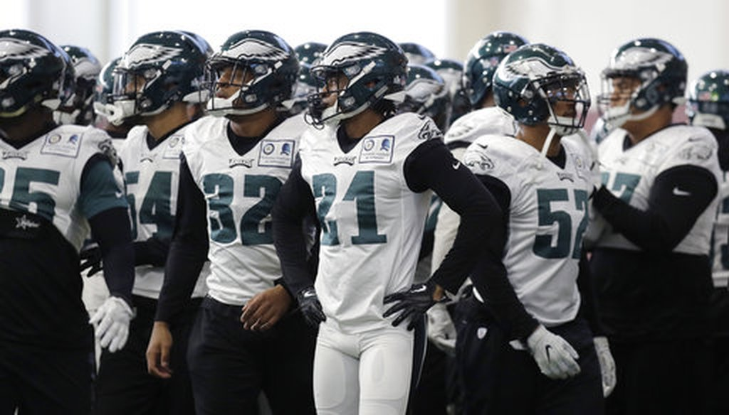 In this Thursday, Feb. 1, 2018, file photo, Philadelphia Eagles cornerback Patrick Robinson (21) and teammates break a huddle during a practice for the NFL Super Bowl in Minneapolis. (AP)
