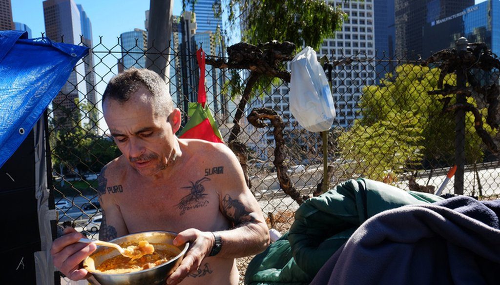 This Tuesday, Jan. 26, 2016 file photo Eddie, 51, a homeless man who would only give his first name and lives in a tent on the street in downtown Los Angeles. (AP Photo/Richard Vogel)