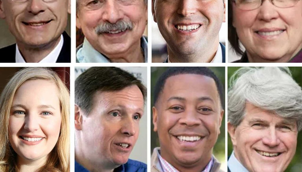 Eight Democrats, down from 10, are running for the nomination to challenge GOP Gov. Scott Walker. Top row (from left): Tony Evers, Paul Soglin, Josh Pade, Kathleen Vinehout. Bottom row: Kelda Helen Roys, Mike McCabe, Mahlon Mitchell, Matt Flynn.