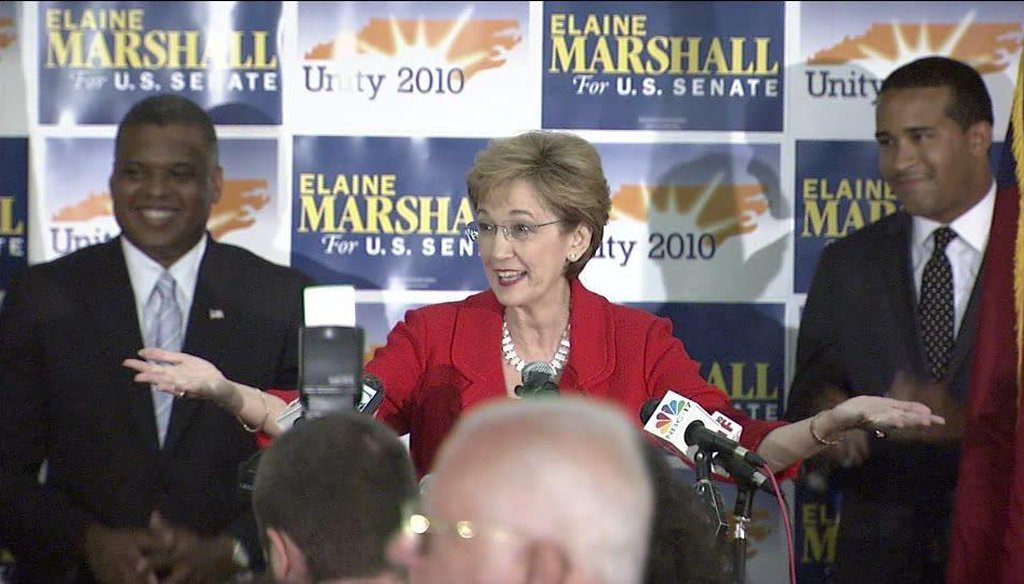 Elaine Marshall takes the stage after winning the Democratic primary runoff in 2010. (WRAL)
