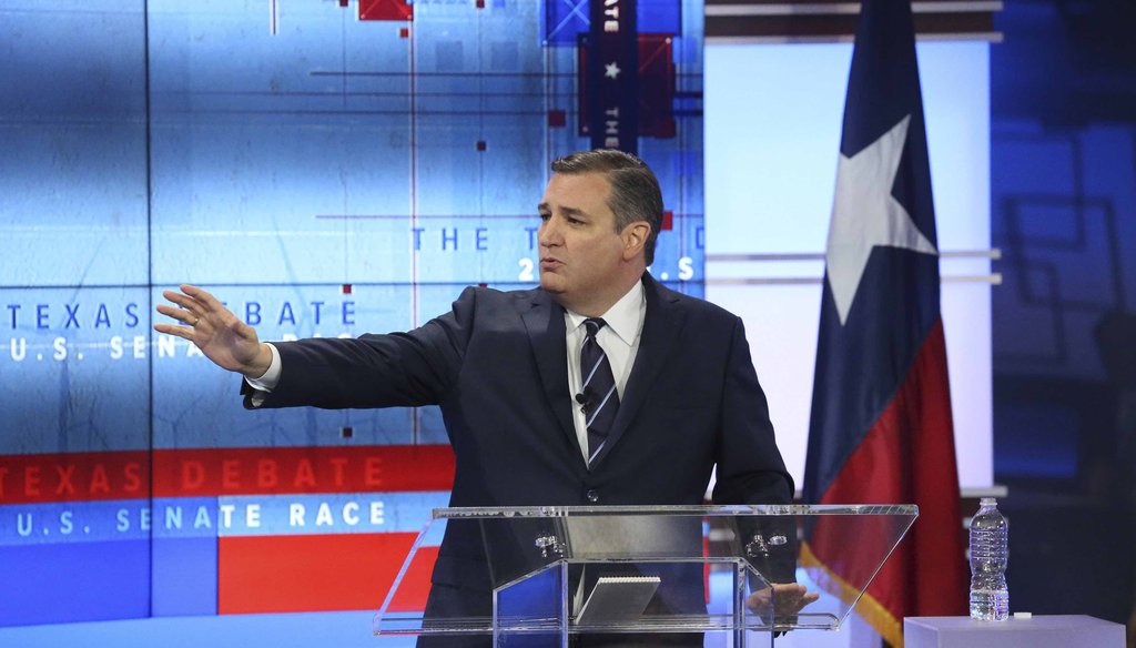 U.S. Sen. Ted Cruz debates U.S. Rep. Beto O'Rourke in San Antonio on Oct. 16, 2018.