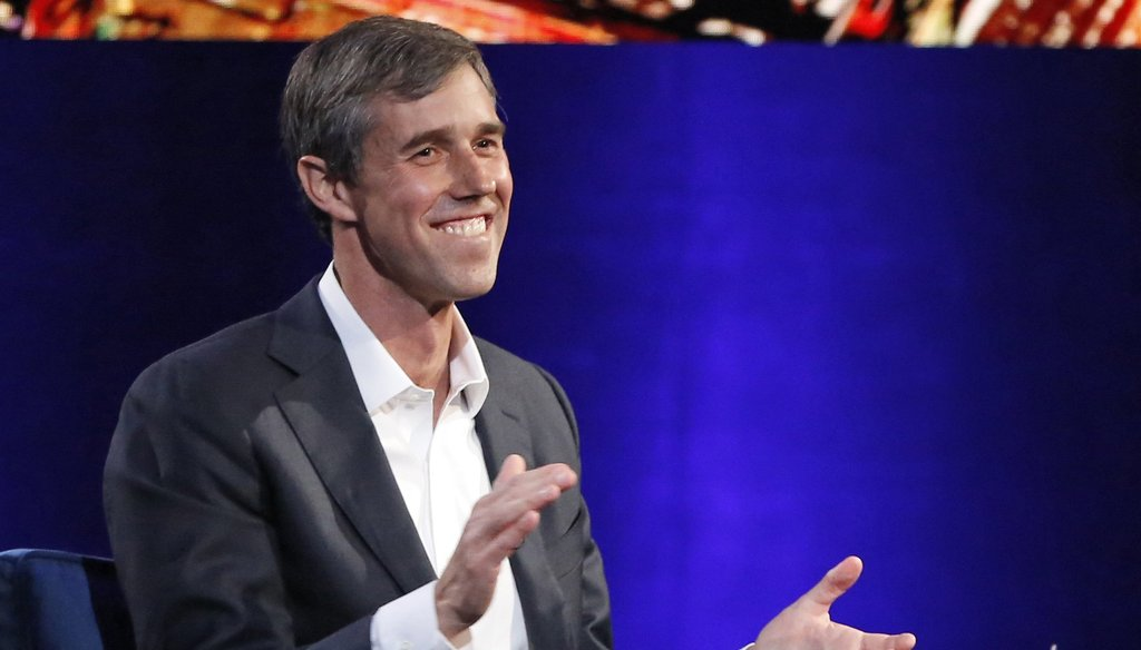 Presidential candidate Beto O'Rourke during an interview with Oprah Winfrey. (Kathy Willens/Associated Press)