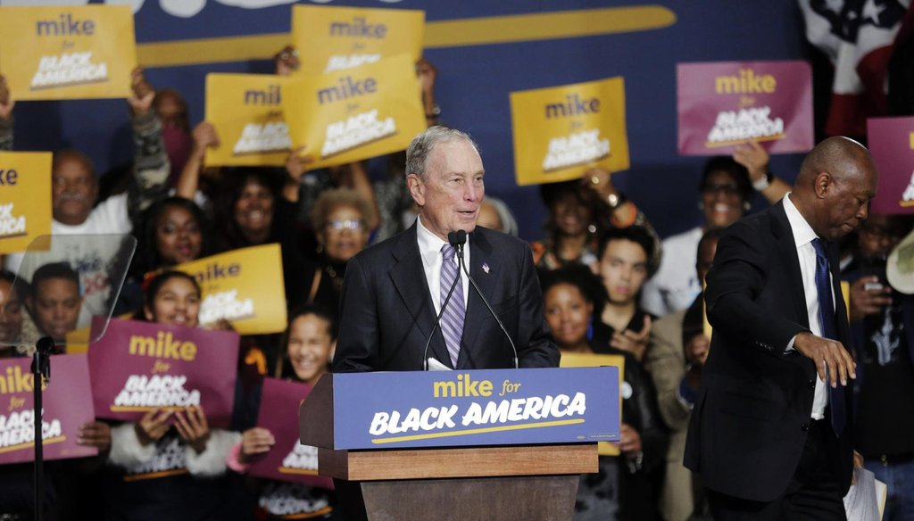 Democratic presidential candidate Michael Bloomberg speaks at a rally in Houston.