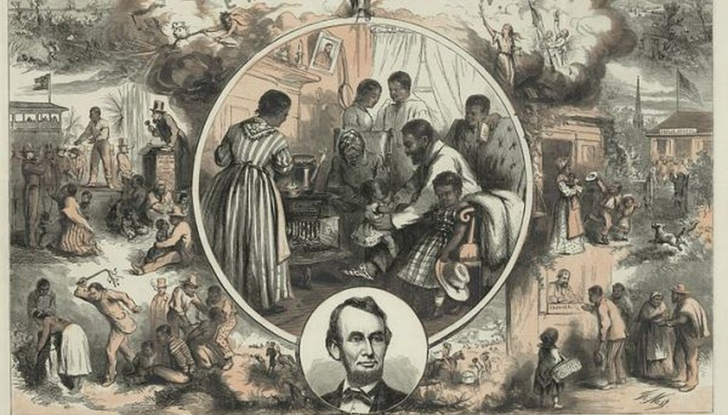 Engraving by Thomas Nast, circa 1865, celebrating the emancipation of Southern slaves at the end of the Civil War. (Library of Congress)