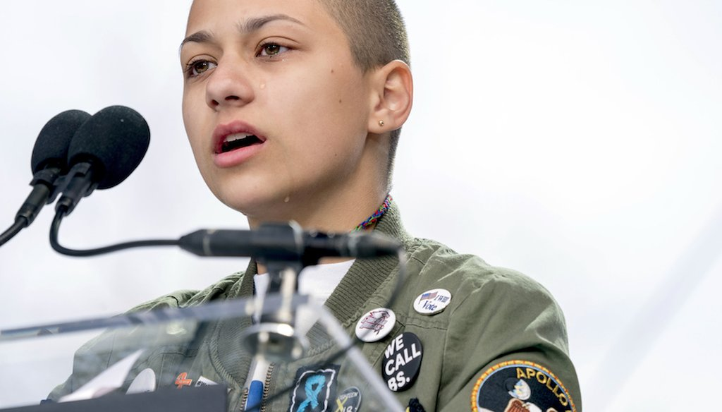 "Student activist and Marjory Stoneman Douglas High School mass shooting survivor speaking at the ""March for Our Lives"" rally in support of gun control in Washington D.C. on March 24, 2018."