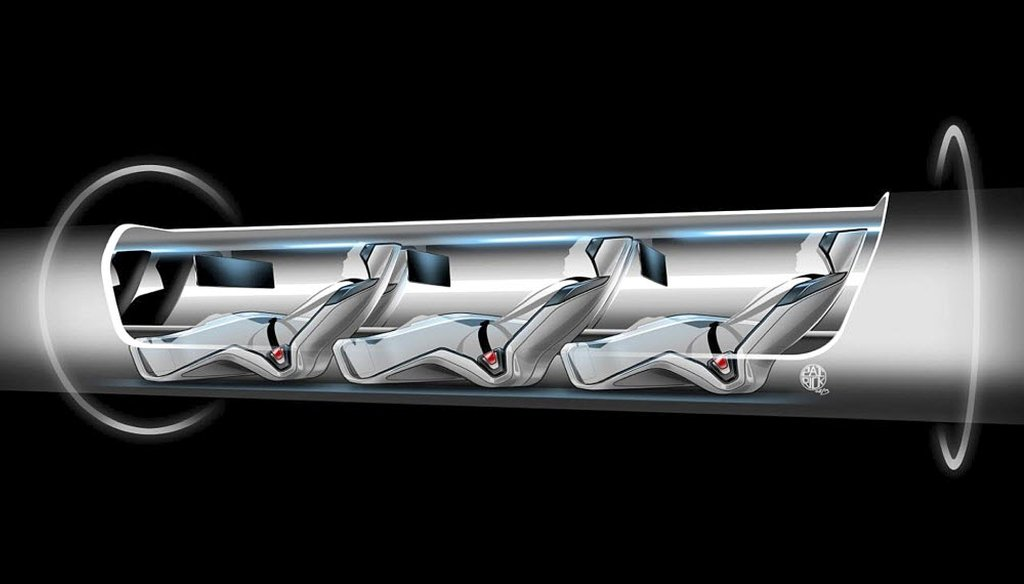 In 2013, Tesla Motors released a sketch of a Hyperloop capsule with passengers onboard. Entrepreneur Elon Musk unveiled a concept for a transport system he says would make a nearly 400-mile trip in half the time it takes an airplane. (AP photo)