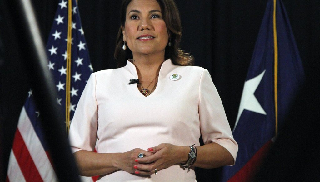 U.S. Rep. Veronica Escobar, D-El Paso, delivers the Spanish-language response to President Donald Trump's State of the Union Address on Feb. 4, 2020 (Cedar Attanasio/Associated Press).