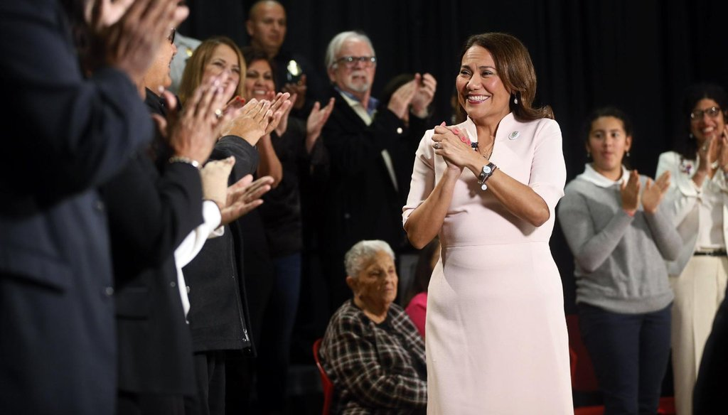 U.S. Rep. Veronica Escobar, D-El Paso, after delivering the Spanish-language response to President Donald Trump's State of the Union Address on Feb. 4, 2020 (Briana Sanchez/El Paso Times).