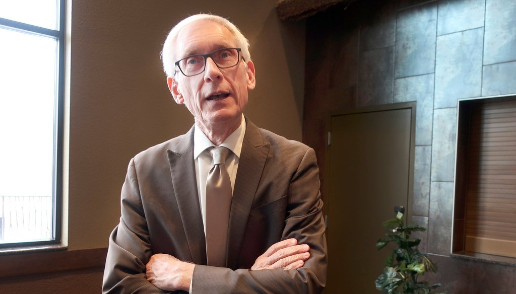 """Wisconsin Democratic Gov. Tony Evers says he doesn't believe Republicans are """"bastards"""" as he speaks with reporters Nov. 13, 2019. He used that word when talking about Republicans blocking a cabinet nominee.  (AP Photo/Scott Bauer)"""