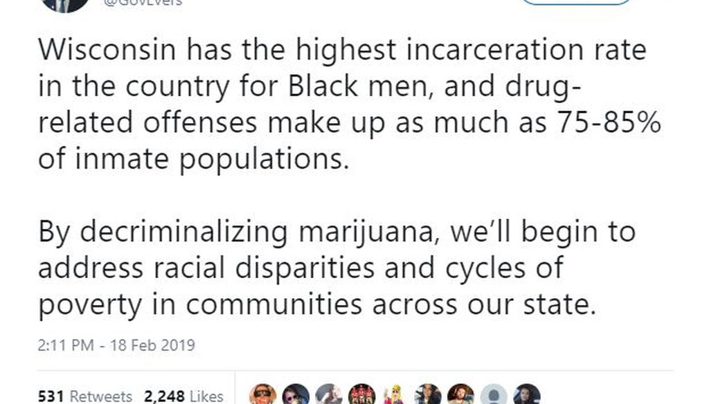 Gov. Tony Evers said in a since-deleted tweet that 75-85 percent of Wisconsin prison inmates are there for drug-related crimes. Screenshot from Twitter.com