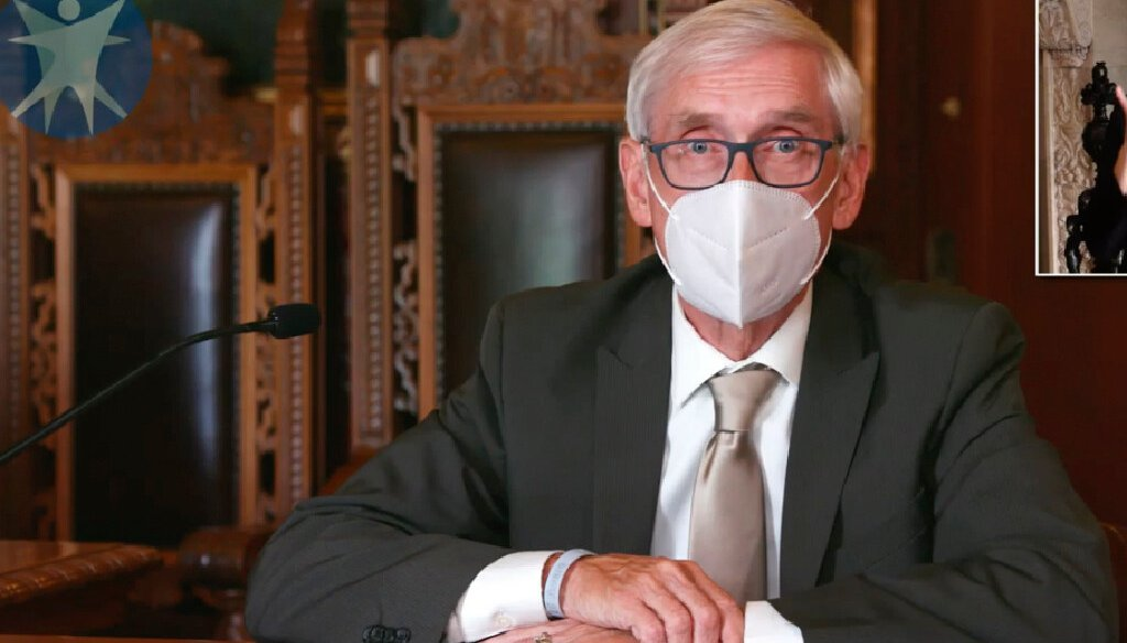 This image taken from video shows Wis. Gov. Tony Evers announcing a statewide mask mandate amid a spike in coronavirus cases on July 30, 2020.