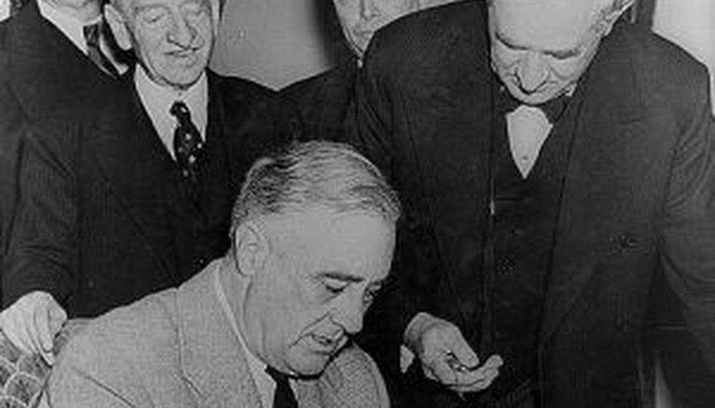 President Roosevelt signs the declaration of war against Germany, Dec. 11, 1941. No president has signed a declaration of war since Roosevelt.