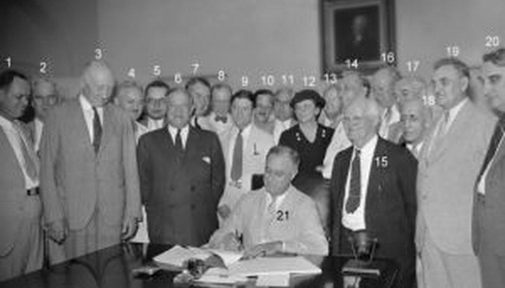 President Franklin D. Roosevelt signs the legislation that created Social Security in 1935.