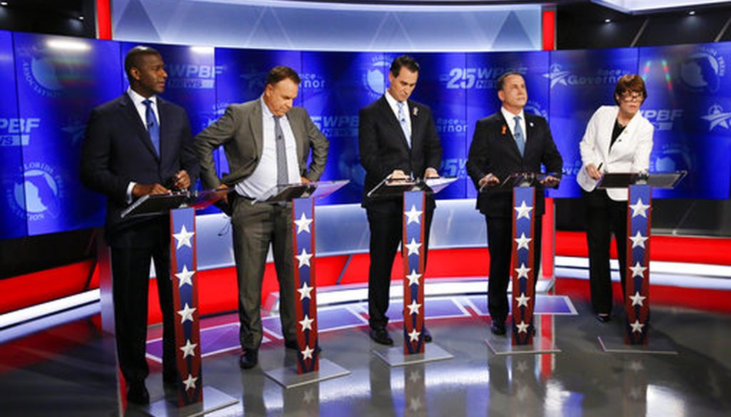 Democratic gubernatorial candidates, from left, Andrew Gillum, Jeff Greene, Chris King, Philip Levine and Gwen Graham await the start of a debate ahead of the Democratic primary for governor on Thursday, Aug. 2, 2018, in Palm Beach Gardens, Fla. (AP)