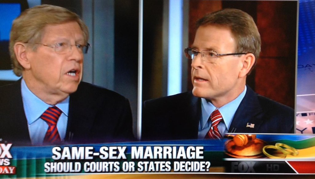"Ted Olson, left, and Tony Perkins debated same-sex marriage on ""Fox News Sunday"" on Oct. 12, 2014."