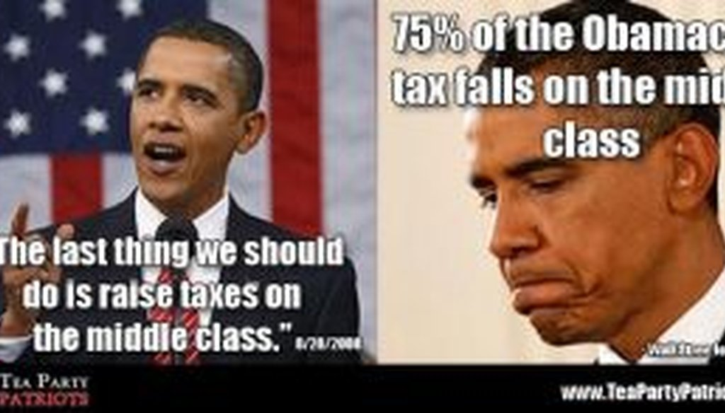 This Facebook post says the middle class will bear the burden of the Obamacare tax. Is that accurate?