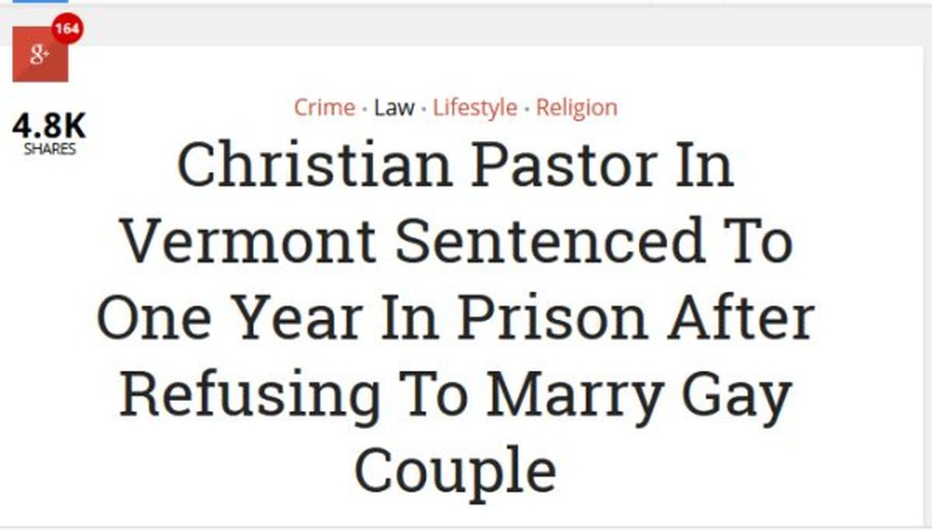 This story appeared on the website NewsExaminer, but it doesn't check out as real.