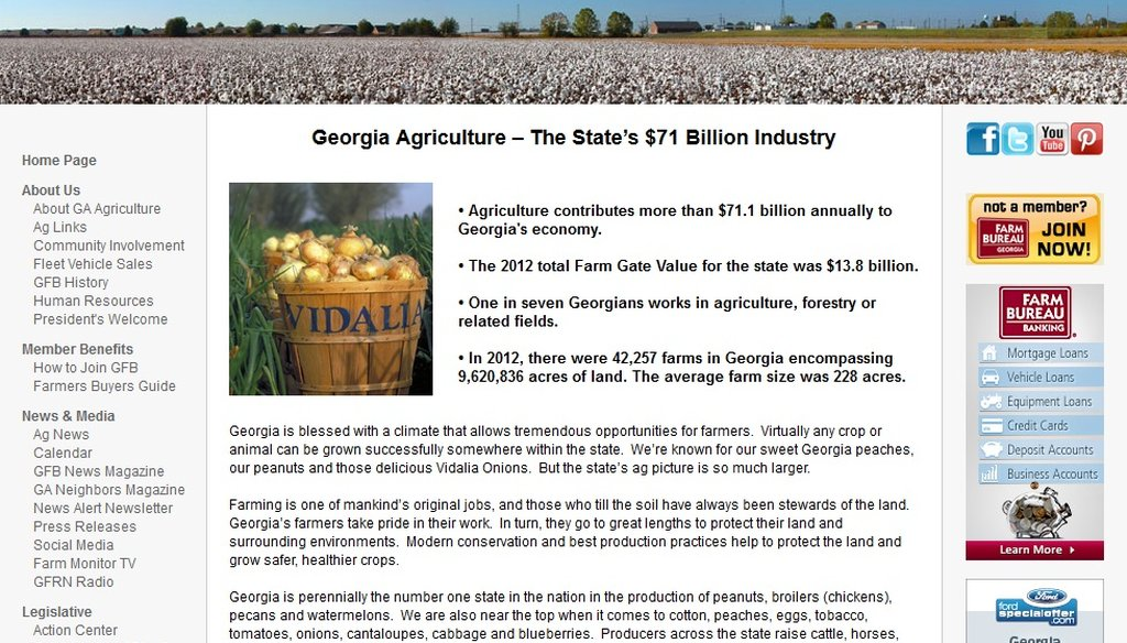 The Georgia Farm Bureau claims agriculture contributes $71 billion into the state economy every year