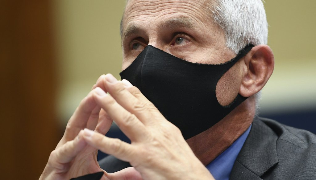 Dr. Anthony Fauci wears a face mask as he waits to testify before a House Committee on Energy and Commerce on Capitol Hill in Washington on June 23, 2020. (AP/Dietsch)