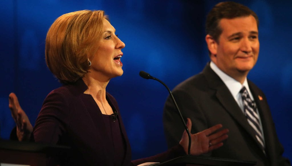 Former Hewlett Packard CEO Carly Fiorina gestures during the third Republican presidential debate. (Getty images)