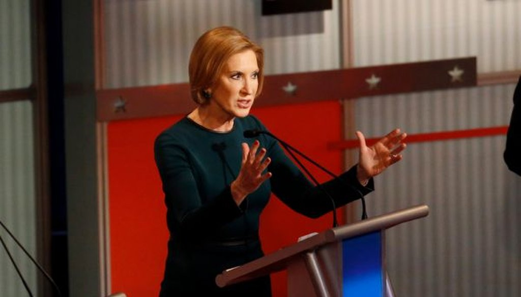Carly Fiorina makes a point during the Republican presidential debate in Milwaukee. (AP/Morry Gash)