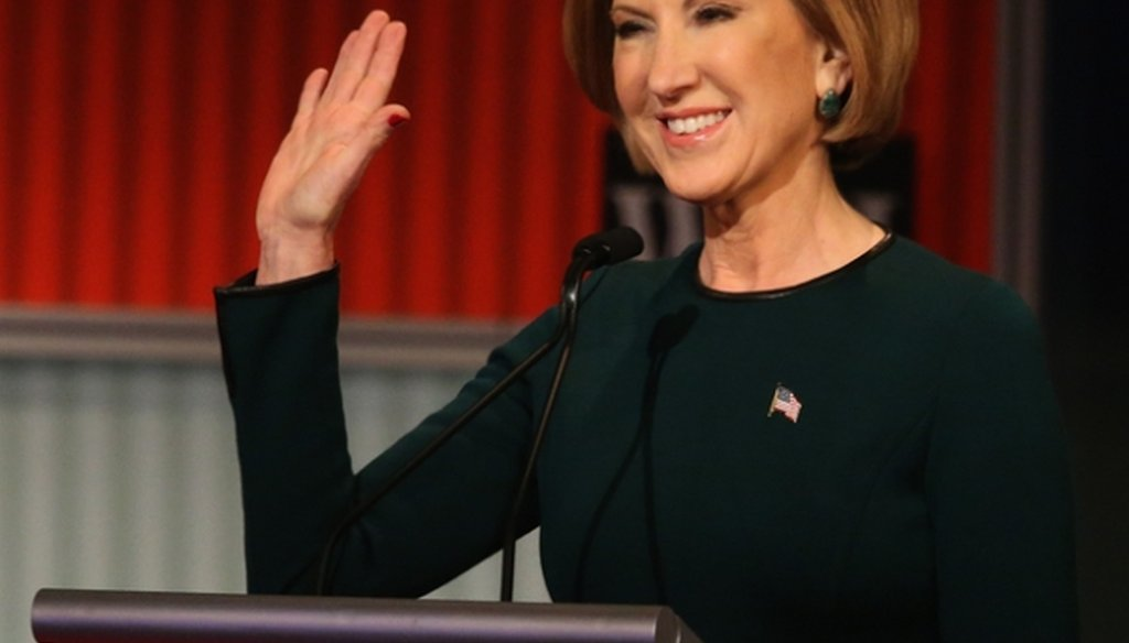 Republican presidential candidate Carly Fiorina waves at the start of the Republican presidential debate in Milwaukee on Nov. 10, 2015. (Scott Olson/Getty Images)