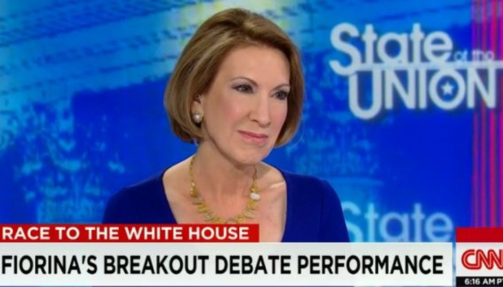 "Republican presidential candidate Carly Fiorina appears on CNN's ""State of the Union"" (screenshot)."