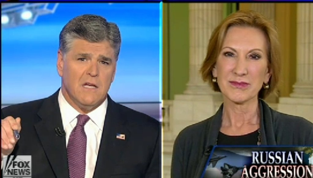 Republican presidential candidate Carly Fiorina appeared on Sean Hannity's Fox News show on Sept. 30, 2015.