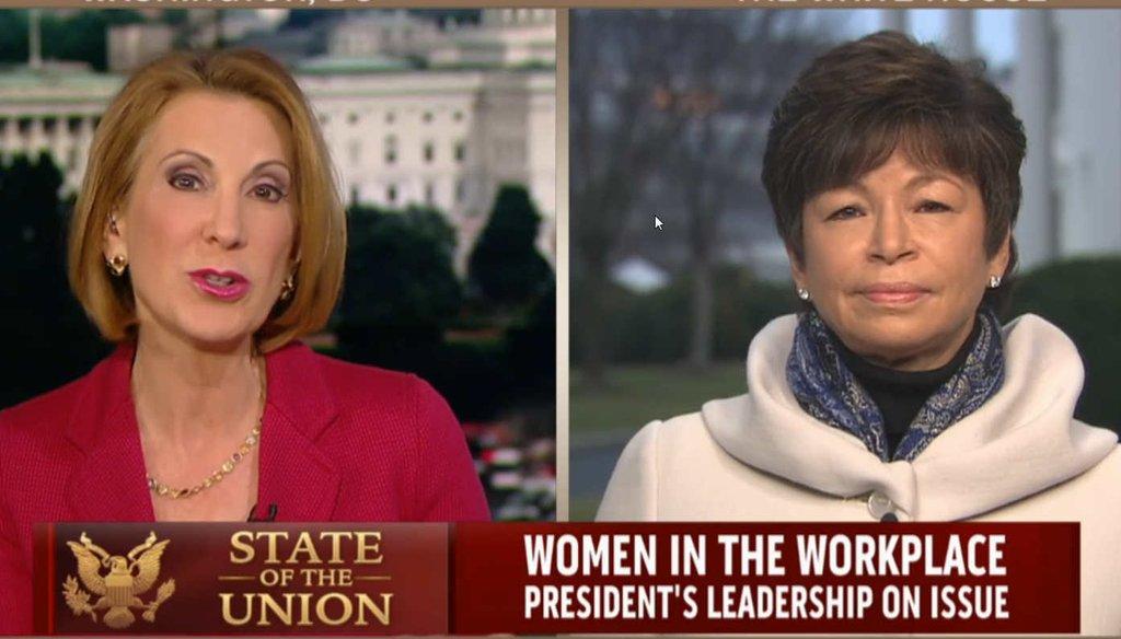 Former Hewlett Packard CEO Carly Fiorina challenges Obama adviser Valerie Jarrett on gender pay bias in the White House.