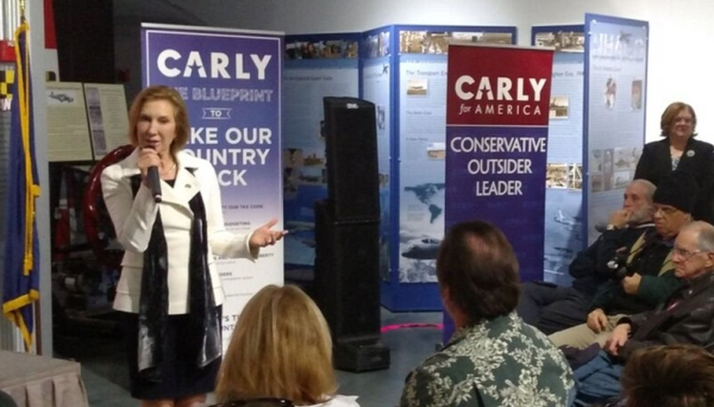 Carly Fiorina speaks to supporters at an event in Londonderry, N.H., on Feb. 3, 2016. (Louis Jacobson)
