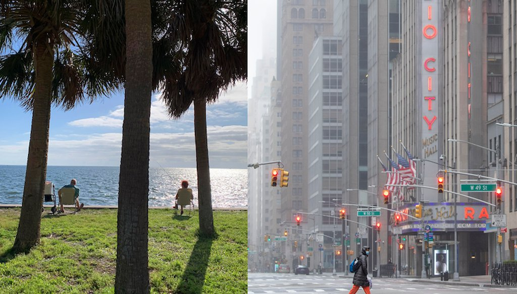 Two images taken March 29, 2020, show the different scenes early in the pandemic. Two people relax in St. Petersburg, Fla., left, while, in New York, a woman wearing a facial mask makes her way across 6th Avenue near Radio City Music Hall. (AP)